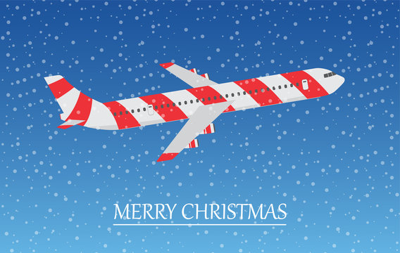 Airplane in the sky with snowflakes. Merry Christmas.