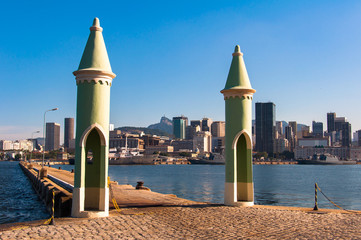 Small Gothic Architecture Cone Towers of the Entrance Gate to the Fiscal Island, With Concrete Pier Leading to the Rio de Janeiro City
