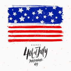 4th of July, Independence day - design with brush calligraphy greeting and USA colours symbol. Vector illustration