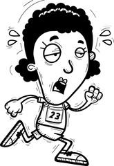 Exhausted Cartoon Black Track Athlete
