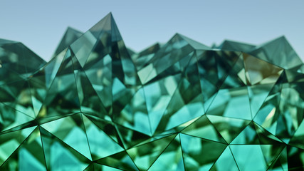 Polygonal green glass shape 3D rendering with DOF Wall mural