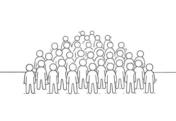 Sketch of many people standing together.