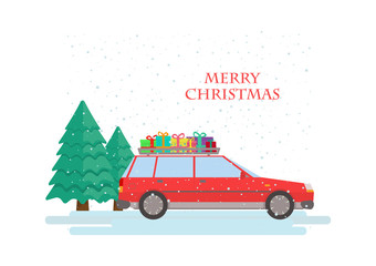 Red car with pines and gift boxes. Merry Christmas.