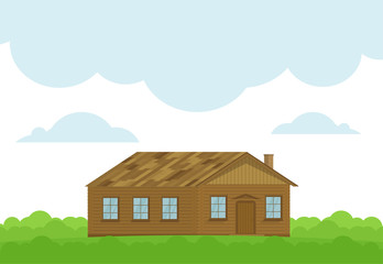 Vector Illustration with a wooden house and green bushes.
