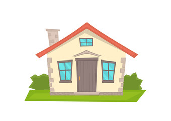 Vector cartoon  house on white background.