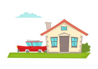 Vector cartoon house with a red car.