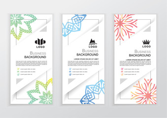 Set of business colorful banners. Triangle elements on white background