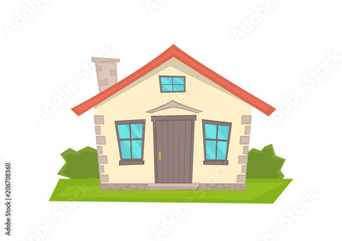 Vector Cartoon House On White Background Stock Image And