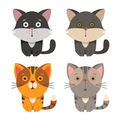Set of cartoon cats