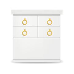 Hight white drawer mockup. Realistic illustration of hight white drawer vector mockup for web design isolated on white background