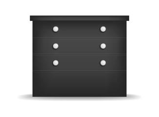 Black nightstand mockup. Realistic illustration of black nightstand vector mockup for web design isolated on white background