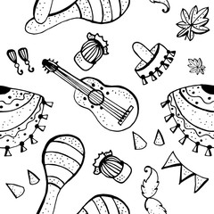 Mexican symbols doodle pattern.