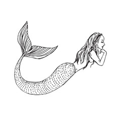 Mermaid laying, hand drawn outline doodle sketch, black and white vector illustration