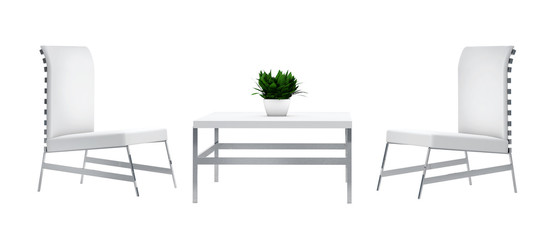 Minimal chairs and table composition, isolated on white