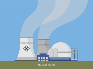 Vector ilustration of nuclear power plant.