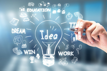 Idea, innovation and leadership concept