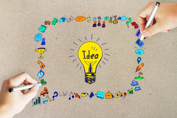 Idea, innovation and education concept