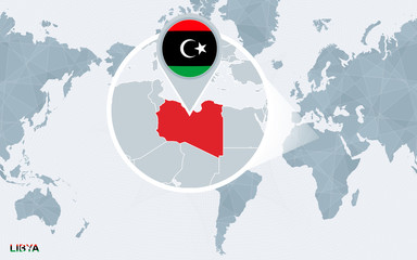 World map centered on America with magnified Libya.