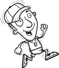 Cartoon Man Coach Running