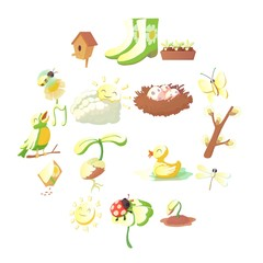 Spring things icons set. Cartoon illustration of 16 spring things vector icons for web