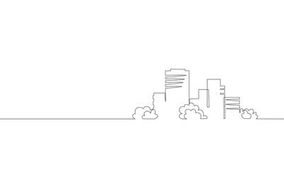 Single continuous line art city building construction. Architecture house urban apartment cityscape landscape concept design one sketch outline drawing vector illustration