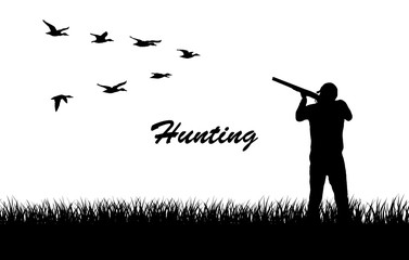 Vector silhouette.Hunting for ducks.