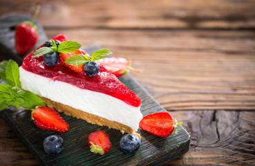 Homemade cheesecake with fresh berries