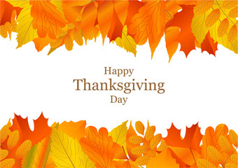 Vector background with autumn leaves. Happy Thanksgiving Day.