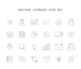 Line icons set. Machine learning pack. Vector illustration