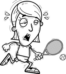 Exhausted Cartoon Tennis Player