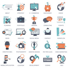 Set of flat design icons for business, pay per click, creative process, searching, web analysis, time is money, on line shopping. Icons for website development and mobile phone services and apps.