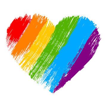 Grunge heart in rainbow color. LGBT pride symbol.