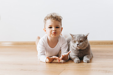 adorable toddler boy and grey british shorthair cat lying on floor together at home