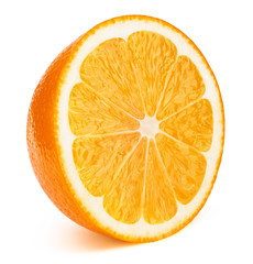 Perfectly retouched sliced half of orange fruit solated on the white background with clipping path. One of the best isolated oranges halves slices that you have seen.