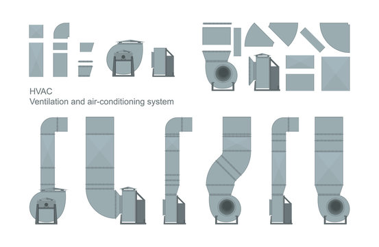 Vector set of ventilation elements.