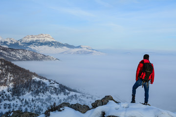 adventure of discovery, high mountains and foggy landscapes