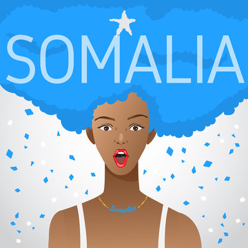 Surprised Woman with National Flag in Afro Hair  : Vector Illustration