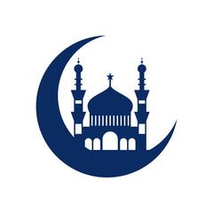 Crescent Mosque Islamic Illustration Design