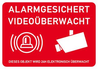 vss51 VideoSurveillanceSign vss - ks310 Kombi-Schild - ALARMGESICHERT / VIDEOÜBERWACHT - Dieses Objekt wird 24h elektronisch überwacht - DIN A2 A3 A4 A5 A6 Plakat - rot xxl g6146