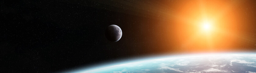 Keuken foto achterwand Heelal Panoramic view of planet Earth with the moon 3D rendering elements of this image furnished by NASA