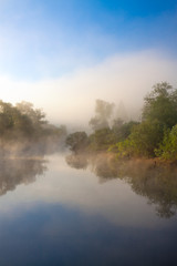Photo sur Toile Riviere summer rural landscape with river and fog