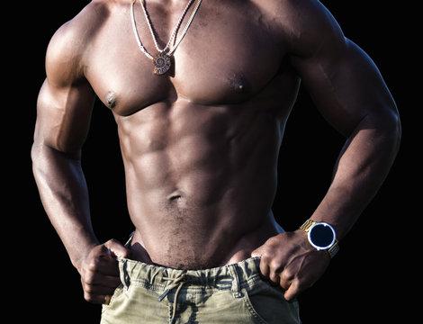 Torso of a Muscular African American Man