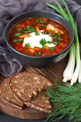 Ukrainian and russian national red soup borscht