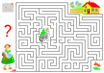Logic puzzle game with labyrinth for children and adults. Help the Little Red Riding Hood find the way to her grandmother's house. Vector cartoon image.