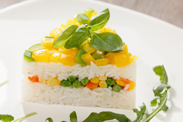 Vegetarian food, rice salad with vegetables, healthy meals