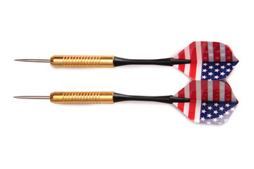 Arrow for darts whit american flag on white background