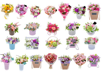 Several flower bouquets on white background