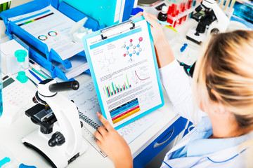 Young attractive woman scientist researching in the laboratory