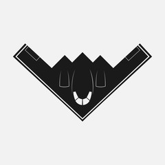 Stealth Bomber B-2. Bomber Aircraft Jet. Black B-2 stealth, Spirit. Logo For u Web Site, Brand and App. Vector illustration Logotype