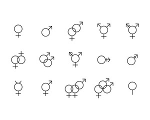 sex relationship gender symbols line vector icons set